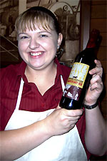 Fiona Kemp with the anniversary red wine